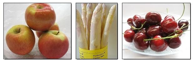 Äpfel, Spargel, KIrschen