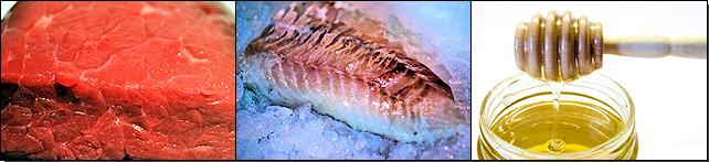 Rindfleisch, Fischfilet, Honig