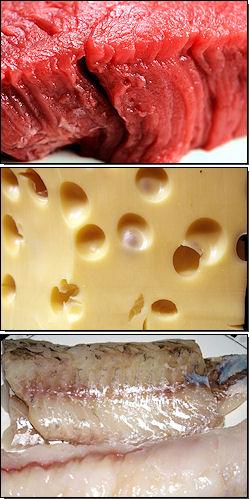 Rindfleisch, Käse, Zander und Seeteufel