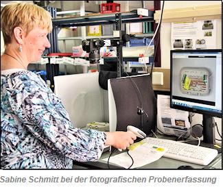 Sabine Schmitt bei der fotografischen Probenerfassung