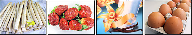 Spargel, Erdbeeren, Vanille und Eier