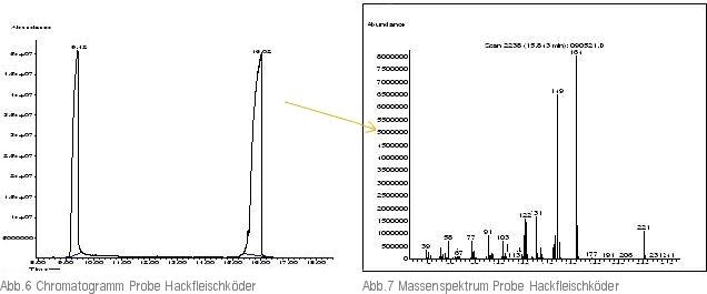 Chromatogramm und Massenspektrum Hachfleischköderprobe