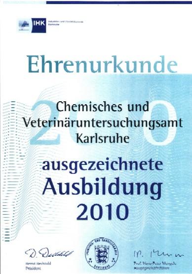Ehrenurkunde der IHK Karlsruhe