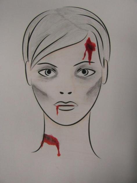 Die Zeichnung zeigt einen Kopf mit durch Schminke erzeugten scheinbaren Wunden an Stirn, Mund und Hals.