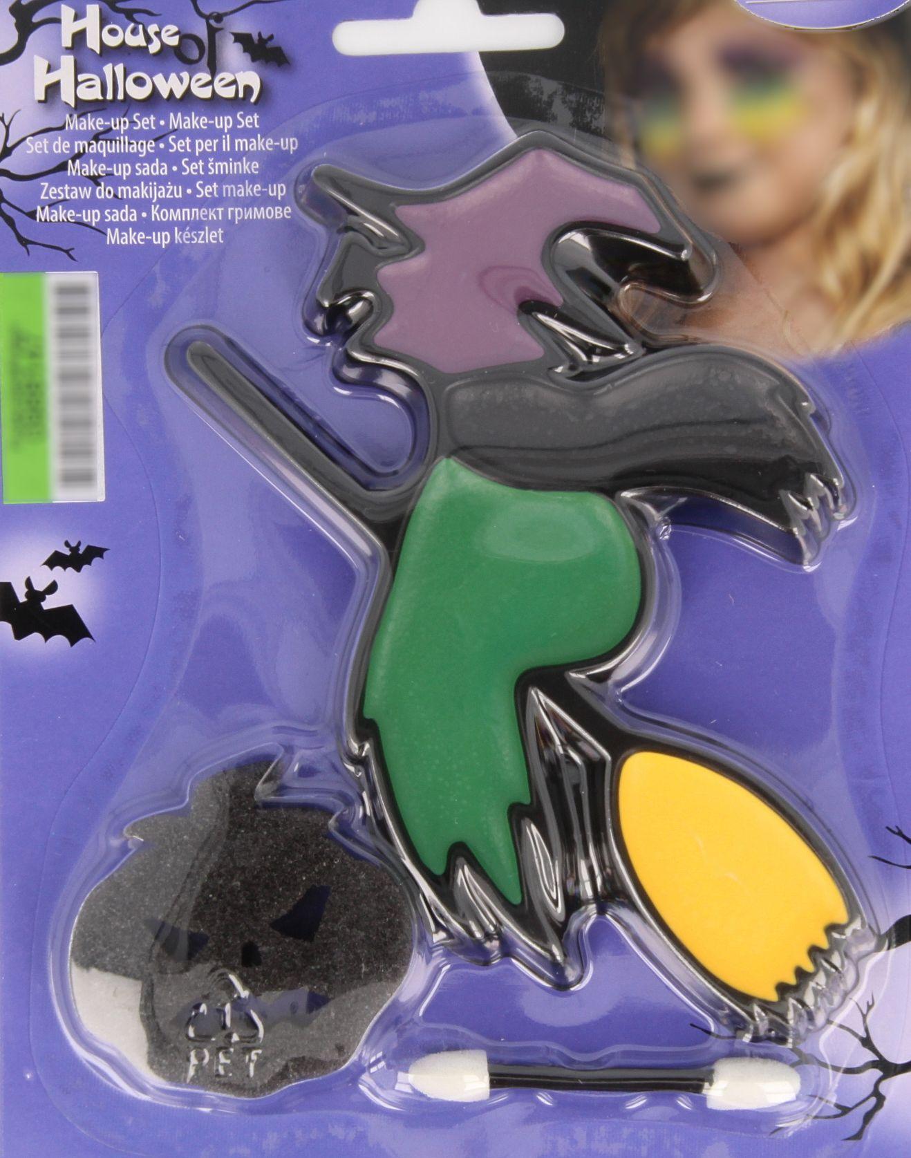 uf dem Bild ist ein Halloweenschminkset zusehen. Es besteht aus einer bunten Gesichtsfarbenpalette in Form einer Hexe auf ihrem Besen und einem schwarzen Schminkschwamm in Kürbisoptik.