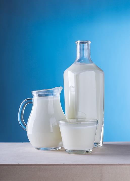 Foto: eine Glasflasche, ein Trinkglas und eine Glaskaraffe jeweils gefüllt mit Milch. Quelle: Daria Yakovleva, Pixabay, CC0 Lizenz.