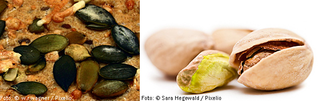 Photo of pumpkin seeds and pistachios.